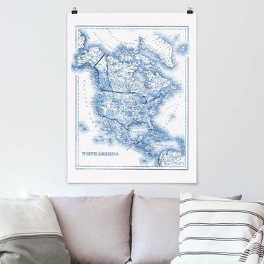 Poster - Karte in Blautönen - Nordamerika - Hochformat 3:4
