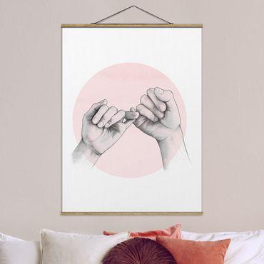 Stoffbild mit Posterleisten - Laura Graves - Illustration Hände Freundschaft Kreis Rosa Weiß - Hochformat 4:3