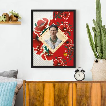 Bild mit Rahmen - Frida Kahlo - Mohnblüten - Hochformat 3:4