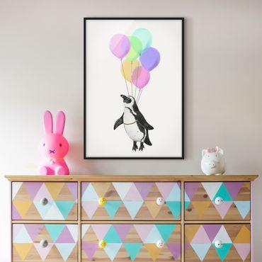 Bild mit Rahmen - Illustration Pinguin Pastell Luftballons - Hochformat 4:3