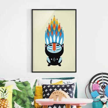 Bild mit Rahmen - Collage Ethno Monster - Feuer - Hochformat 4:3