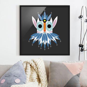 Bild mit Rahmen - Collage Ethno Maske - Gnom - Quadrat 1:1
