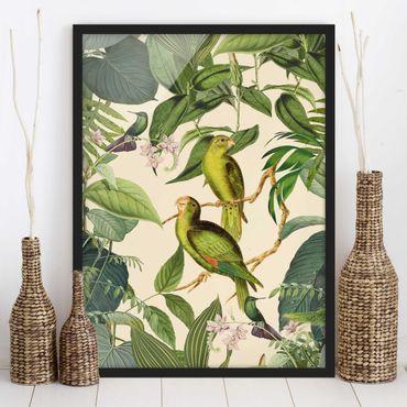 Bild mit Rahmen - Vintage Collage - Papageien im Dschungel - Hochformat 4:3
