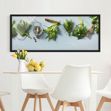 Bild mit Rahmen - Gebündelte Kräuter - Panorama Querformat