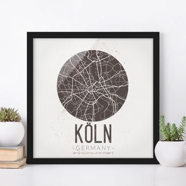 Bild mit Rahmen - Stadtplan Köln - Retro - Quadrat 1:1