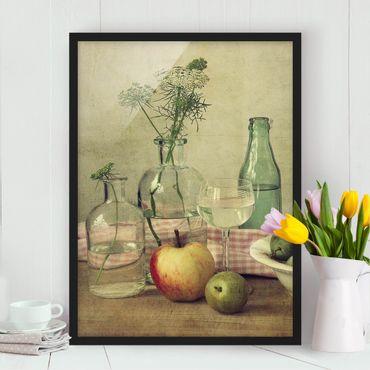 Bild mit Rahmen - Stillleben mit Flaschen - Hochformat 3:4