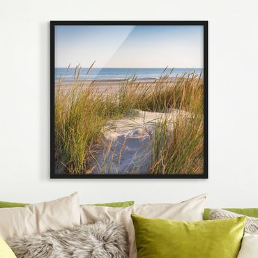 Bild mit Rahmen - Stranddüne am Meer - Quadrat 1:1