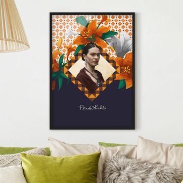 Bild mit Rahmen - Frida Kahlo - Lilien - Hochformat 3:4