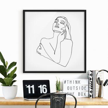 Bild mit Rahmen - Line Art Frau Oberkörper Schwarz Weiß - Quadrat 1:1