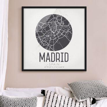 Bild mit Rahmen - Stadtplan Madrid - Retro - Quadrat 1:1