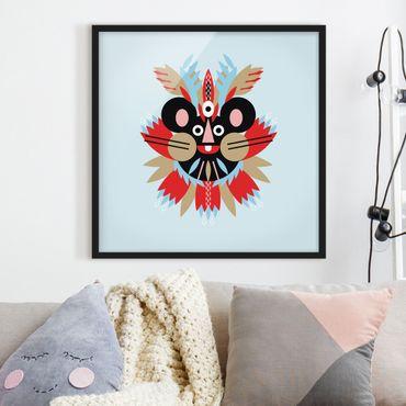 Bild mit Rahmen - Collage Ethno Maske - Maus - Quadrat 1:1