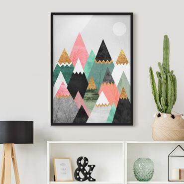 Bild mit Rahmen - Dreieckige Berge mit Goldspitzen - Hochformat 4:3