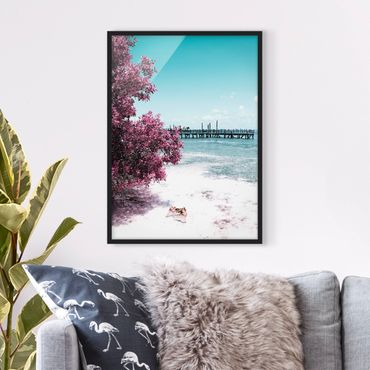 Bild mit Rahmen - Paradies Strand Isla Mujeres - Hochformat 3:4