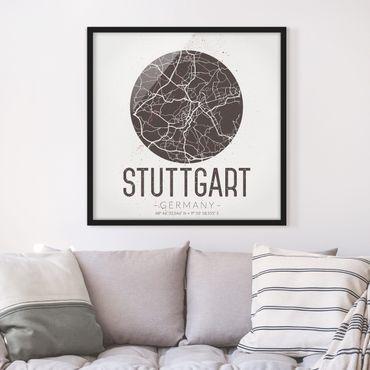 Bild mit Rahmen - Stadtplan Stuttgart - Retro - Quadrat 1:1