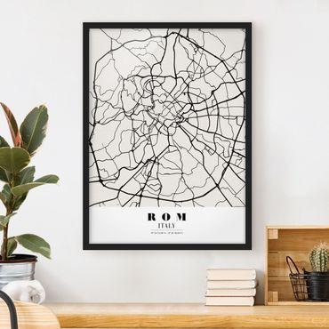 Bild mit Rahmen - Stadtplan Rom - Klassik - Hochformat 3:4