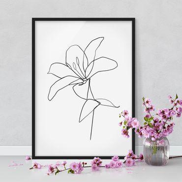 Bild mit Rahmen - Line Art Blüte Schwarz Weiß - Hochformat 4:3