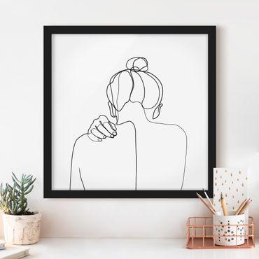 Bild mit Rahmen - Line Art Frau Nacken Schwarz Weiß - Quadrat 1:1