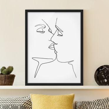 Bild mit Rahmen - Line Art Kuss Gesichter Schwarz Weiß - Hochformat 4:3