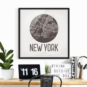 Bild mit Rahmen - Stadtplan New York - Retro - Quadrat 1:1