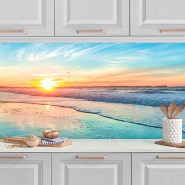 Küchenrückwand - Romantischer Sonnenuntergang am Meer