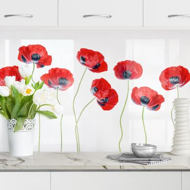 Küchenrückwand - Marienkäfer Mohnblumen