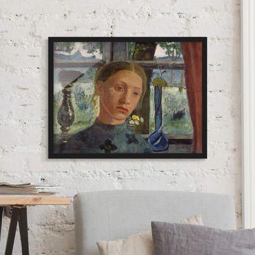 Bild mit Rahmen - Paula Modersohn-Becker - Mädchenkopf vor Fenster - Querformat 3:4