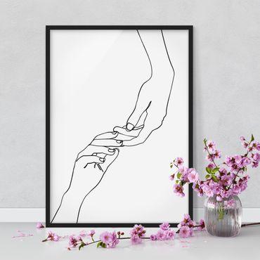 Bild mit Rahmen - Line Art Hände Berührung Schwarz Weiß - Hochformat 4:3