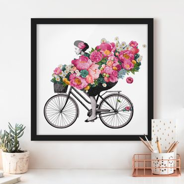 Bild mit Rahmen - Illustration Frau auf Fahrrad Collage bunte Blumen - Quadrat 1:1