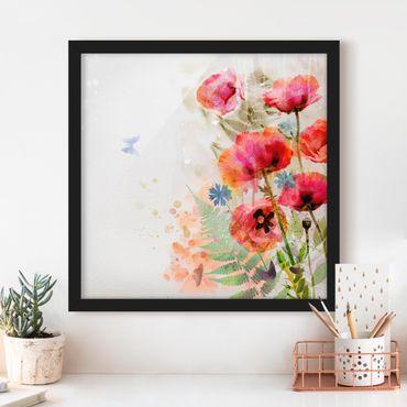 Bild mit Rahmen - Aquarell Blumen Mohn - Quadrat 1:1
