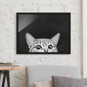 Bild mit Rahmen - Illustration Katze Schwarz Weiß Zeichnung - Querformat 3:4