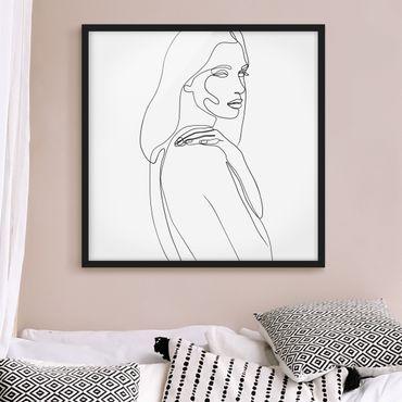 Bild mit Rahmen - Line Art Frau Schulter Schwarz Weiß - Quadrat 1:1