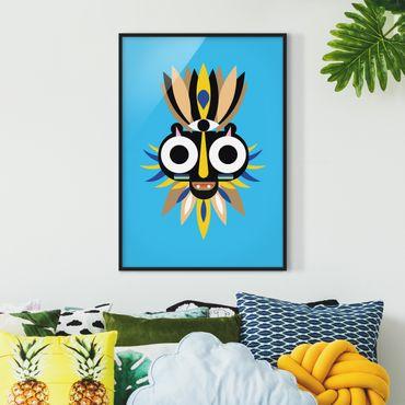 Bild mit Rahmen - Collage Ethno Maske - Große Augen - Hochformat 4:3