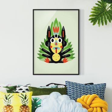 Bild mit Rahmen - Collage Ethno Monster - Dschungel - Hochformat 4:3