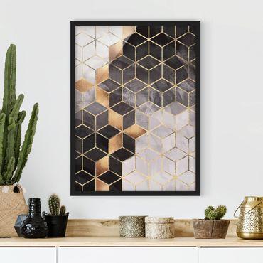 Bild mit Rahmen - Schwarz Weiß goldene Geometrie - Hochformat 4:3
