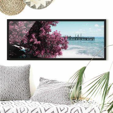 Bild mit Rahmen - Paradies Strand Isla Mujeres - Panorama Querformat