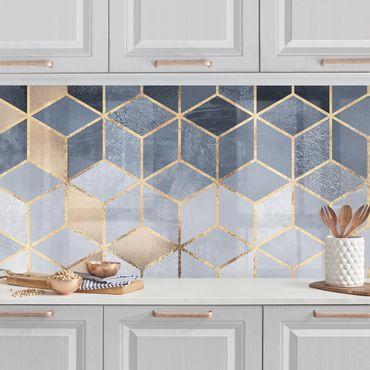 Küchenrückwand - Blau Weiß goldene Geometrie
