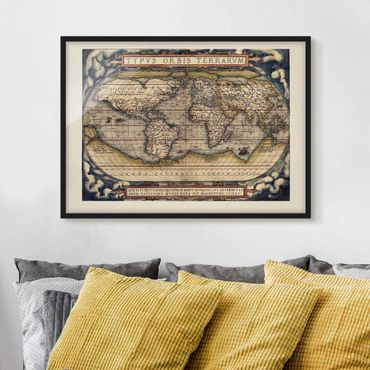 Bild mit Rahmen - Historische Weltkarte Typus Orbis Terrarum - Querformat 3:4