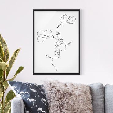 Bild mit Rahmen - Line Art Gesichter Frauen Schwarz Weiß - Hochformat 4:3