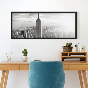Bild mit Rahmen - Manhattan Skyline - Panorama Querformat