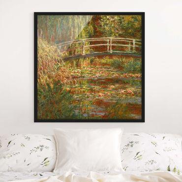 Bild mit Rahmen - Claude Monet - Seerosenteich und japanische Brücke (Harmonie in rosa) - Quadrat 1:1