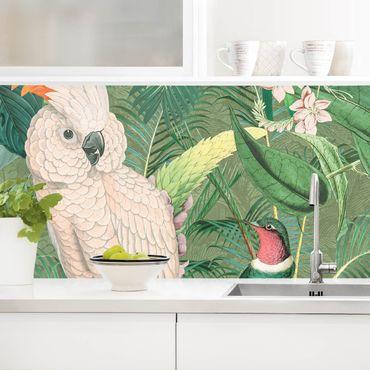Küchenrückwand - Vintage Collage - Kakadu und Kolibri