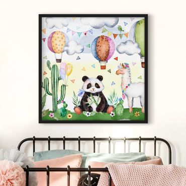 Bild mit Rahmen - Panda und Lama Aquarell - Quadrat 1:1