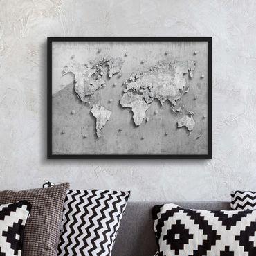 Bild mit Rahmen - Beton Weltkarte - Querformat 3:4