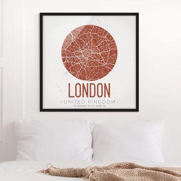 Bild mit Rahmen - Stadtplan London - Retro - Quadrat 1:1