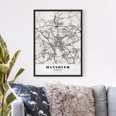 Bild mit Rahmen - Stadtplan Hannover - Klassik - Hochformat 3:4