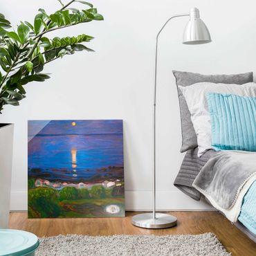 Glasbild - Edvard Munch - Sommernacht am Meeresstrand - Quadrat 1:1