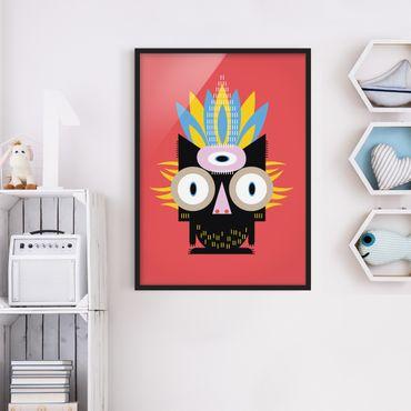 Bild mit Rahmen - Collage Ethno Monster - Katze - Hochformat 4:3