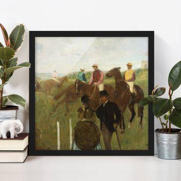 Bild mit Rahmen - Edgar Degas - Jockeys auf Rennbahn - Quadrat 1:1