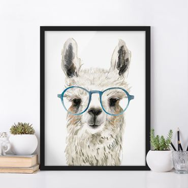 Bild mit Rahmen - Hippes Lama mit Brille III - Hochformat 4:3