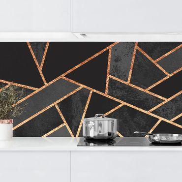 Küchenrückwand - Schwarze Dreiecke Gold